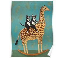 Cats on a Rocking Giraffe Poster