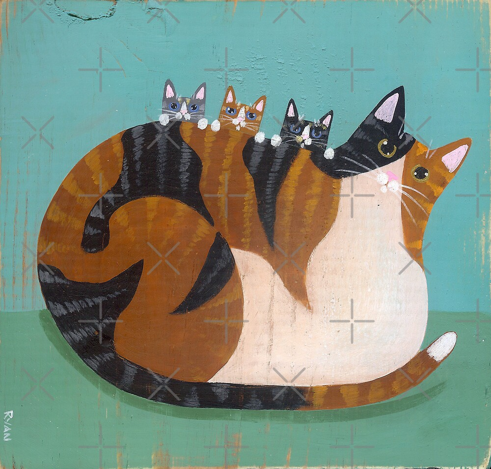 Calico Cat & Kittens by Ryan Conners