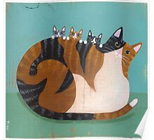 Calico Cat & Kittens Poster