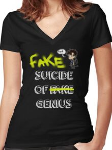 Fake suicide of genius. Women's Fitted V-Neck T-Shirt