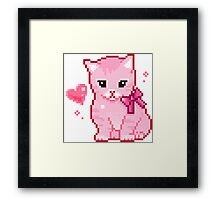 Pink Cat Pixel Design Framed Print