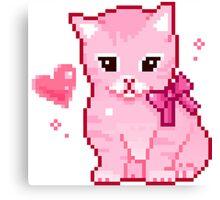 Pink Cat Pixel Design Canvas Print