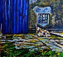 Ewe and Lambs, on the Carrickfergus Road, Glynn, Larne by Laura Butler