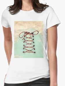 lace up the sky Womens Fitted T-Shirt
