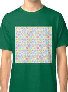 Abstract pink teal orange trendy modern floral  Classic T-Shirt