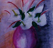 Red vase and flowers, watercolor by Anna  Lewis, blind artist
