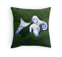Mermaid Sculpture in the  Garden V2.0 Throw Pillow