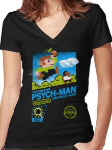 The Amazing Psych-Man!! (and Magic Head) Women's Fitted V-Neck T-Shirt