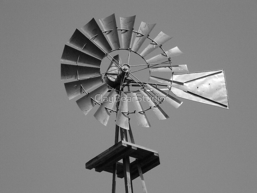 Windmill in black and white by ClayBearStudio