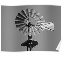 Windmill in black and white Poster