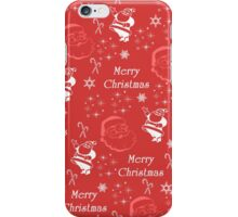 Red white Santa Claus snowflakes Merry Christmas iPhone Case/Skin