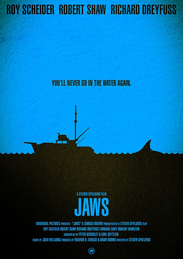 """Movie Poster - """"JAWS"""" by Mark Hyland"""