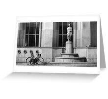 A cyclist near the Eiffel Tower phones a friend, Paris Greeting Card