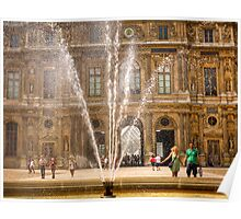 A couple get sprayed by water at the Louvre in Paris Poster
