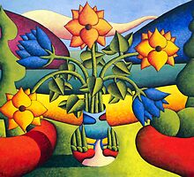 Softvase with flowers in landscape by Alan Kenny