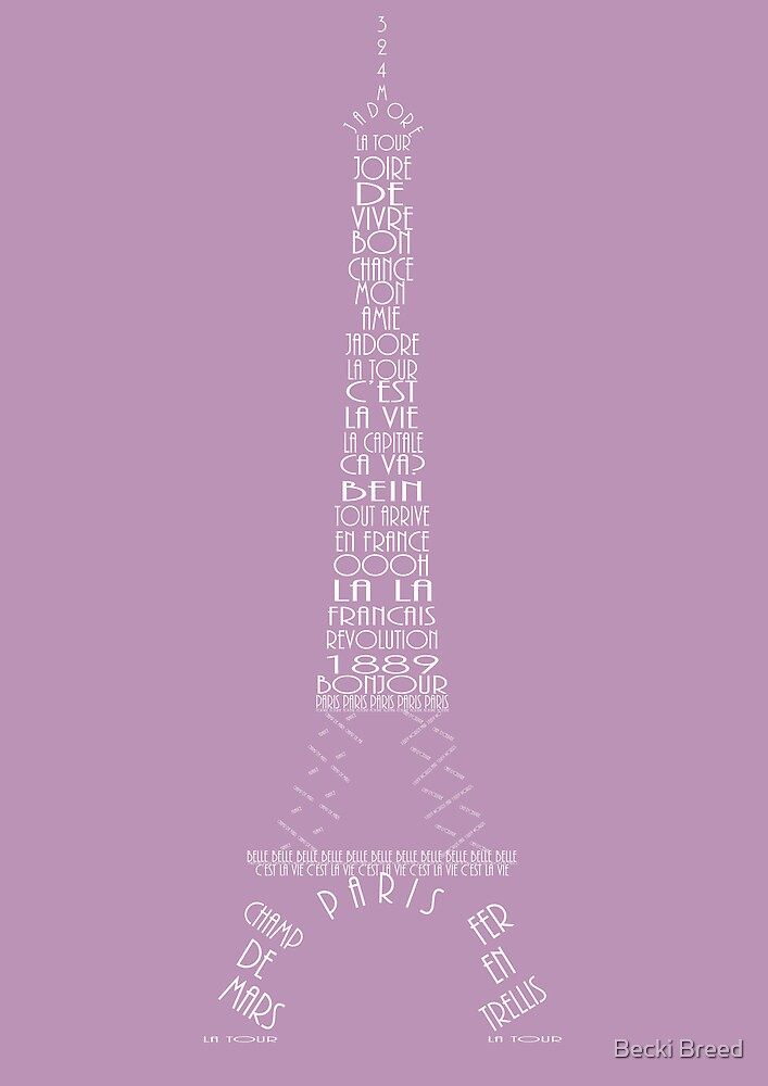 'Wordy Structures' Eiffel Tower Purple by Becki Breed