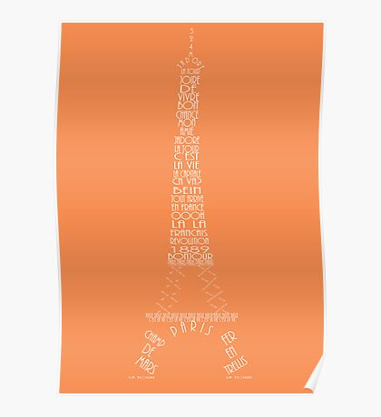 'Wordy Structures' Eiffel Tower Orange Poster