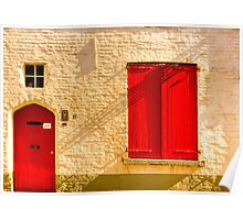 A red door and shutters in Bruges Poster
