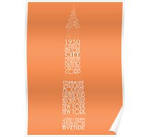 'Wordy Structures' Chrysler Building Orange Poster