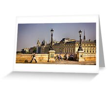 Friends chat on the Ponte Neuf in Paris Greeting Card