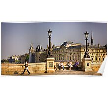 Friends chat on the Ponte Neuf in Paris Poster