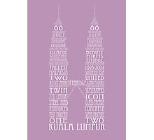 'Wordy Structures' Petronas Towers Purple Photographic Print