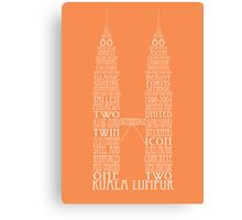 'Wordy Structures' Petronas Towers Orange Canvas Print