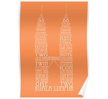 'Wordy Structures' Petronas Towers Orange Poster