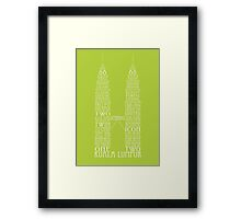 'Wordy Structures' Petronas Towers Green Framed Print