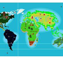 Retro Pixel World Map by wolfiboi