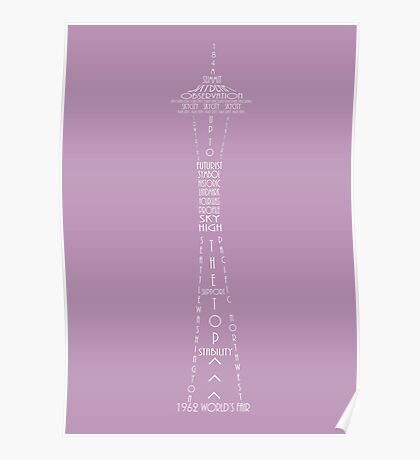 'Wordy Structures' Space Needle Purple Poster