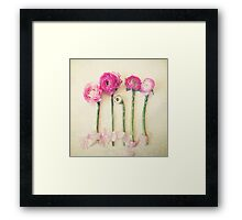 Asparagus and Pink Flowers Framed Print