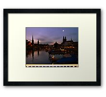 The moon and Zurich Framed Print