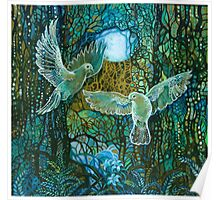 White Doves in the Magical Forest Poster
