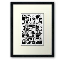 Go: Black & white grid Framed Print