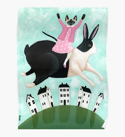 Siamese Cat and Hopping Rabbit Poster