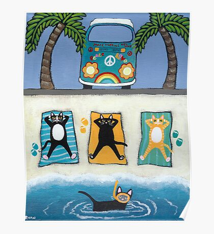 Cats on Summer Holiday Poster