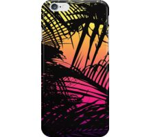 Tropical Black Palm Fronds on Pink, Orange, Yellow iPhone Case/Skin