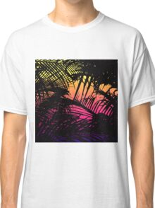 Tropical Black Palm Fronds on Pink, Orange, Yellow Classic T-Shirt