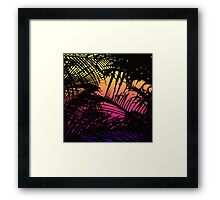 Tropical Black Palm Fronds on Pink, Orange, Yellow Framed Print