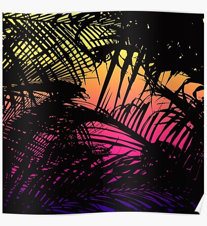 Tropical Black Palm Fronds on Pink, Orange, Yellow Poster