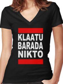 Klaatu Barada Nikto Women's Fitted V-Neck T-Shirt