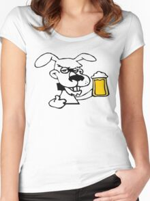 Dog Likes Drinking Beer Women's Fitted Scoop T-Shirt