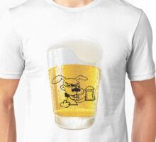 Glass of Beer With Dog Drinking Beer Label Unisex T-Shirt