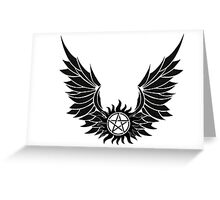 SPN Anti-Possession Tattoo with Wings Greeting Card
