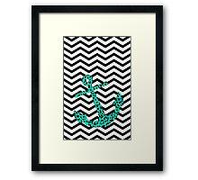 Mint Leopard Anchor Framed Print