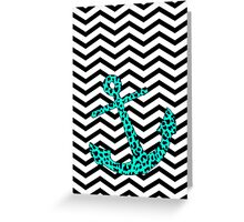 Mint Leopard Anchor Greeting Card