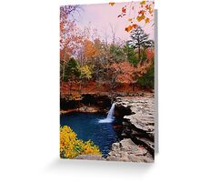 Autumn Sundown,  Falling Water Falls Greeting Card