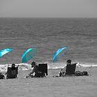 Three Blue Umbrellas by Jim Semonik