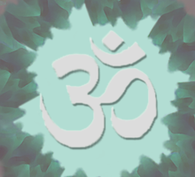 Om and Lotus Flowers  Sticker